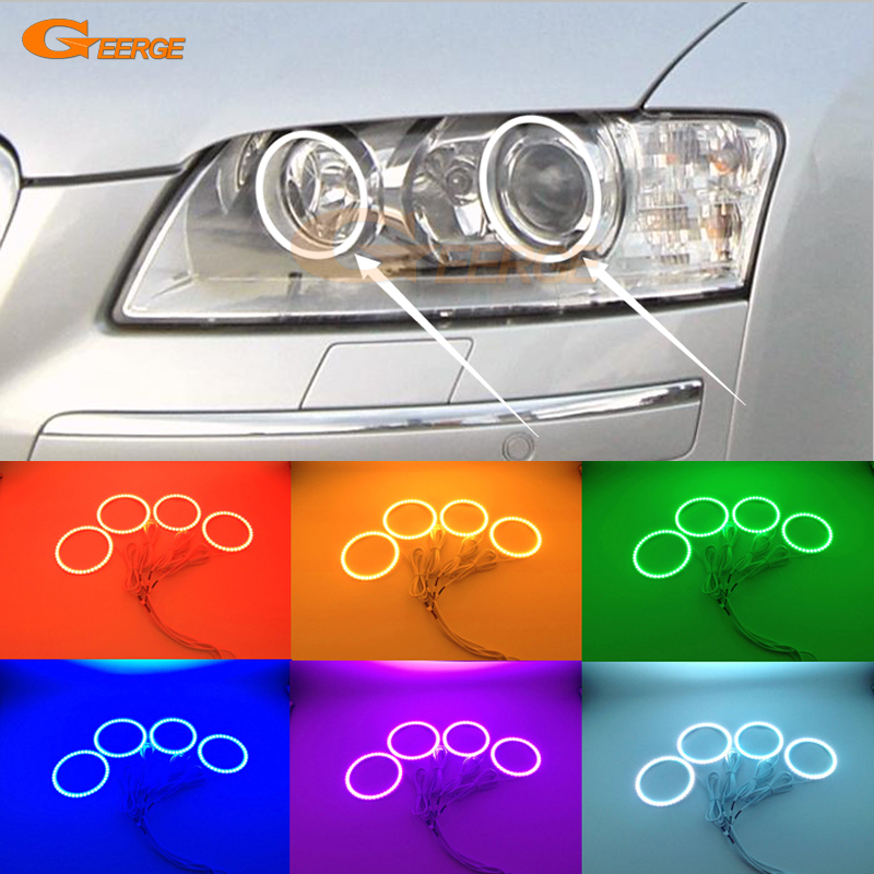 For Audi A8 S8 2004 2005 2006 2007 2008 2009 Excellent Multi-Color Ultra bright RGB LED Angel Eyes kit Halo Rings for acura tsx cl9 2004 2005 2006 2007 2008 excellent multi color ultra bright rgb led angel eyes kit halo rings
