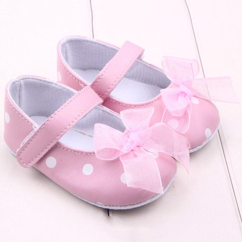 Pink Ribbon Princess Lace Baby Polka Dot Shoes Newborn Girl First Walkers Anti-skid Shoes Hot Selling