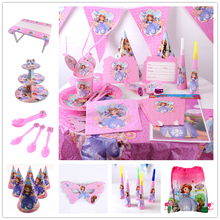 Cartoon Disney Sofia Princess Theme Kids Mask Birthday Pack Event Party Decoration Boxes Plates Baby Shower Tableware Supplies