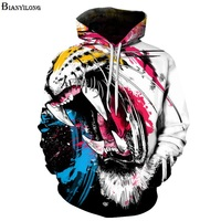 Colorful Tiger Fashion Animal Style Sweatshirts Men Women 3D Pullovers Print Tiger Hoodies Hooded Tracksuits Tops