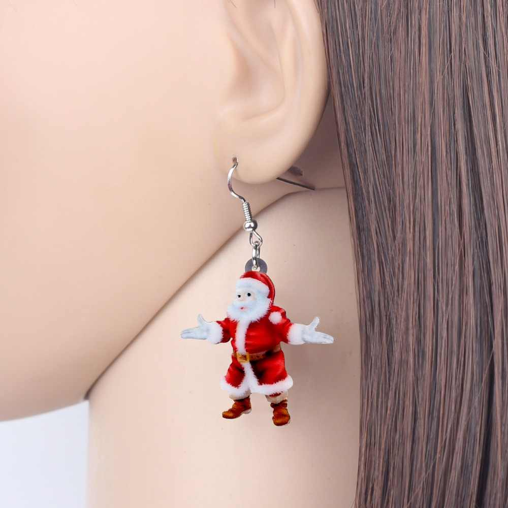 Bonsny Acrylic Christmas Happy Santa Claus Father Earrings Drop Dangle Decoration Jewelry For Women Girls Teens Gift Charms 2018