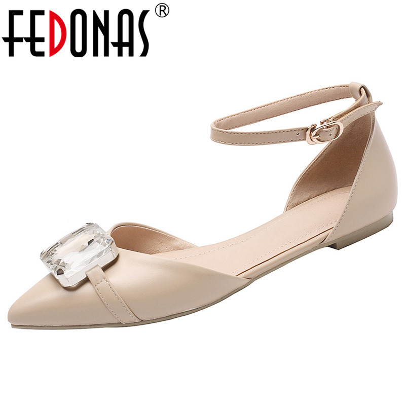 FEDONAS High Quality Cow Leather Women Pumps Big Rhinestone Decoration Solid Color Concise Mary Janes Shoes Buckle Shoes WomanFEDONAS High Quality Cow Leather Women Pumps Big Rhinestone Decoration Solid Color Concise Mary Janes Shoes Buckle Shoes Woman