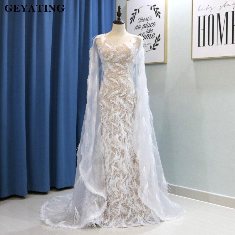 De luxe plume d'autruche Sirène robes de bal 2019 Robe de Soriee Longue Robe de soirée avec Cape Robe de soirée formelle Robe longue branco