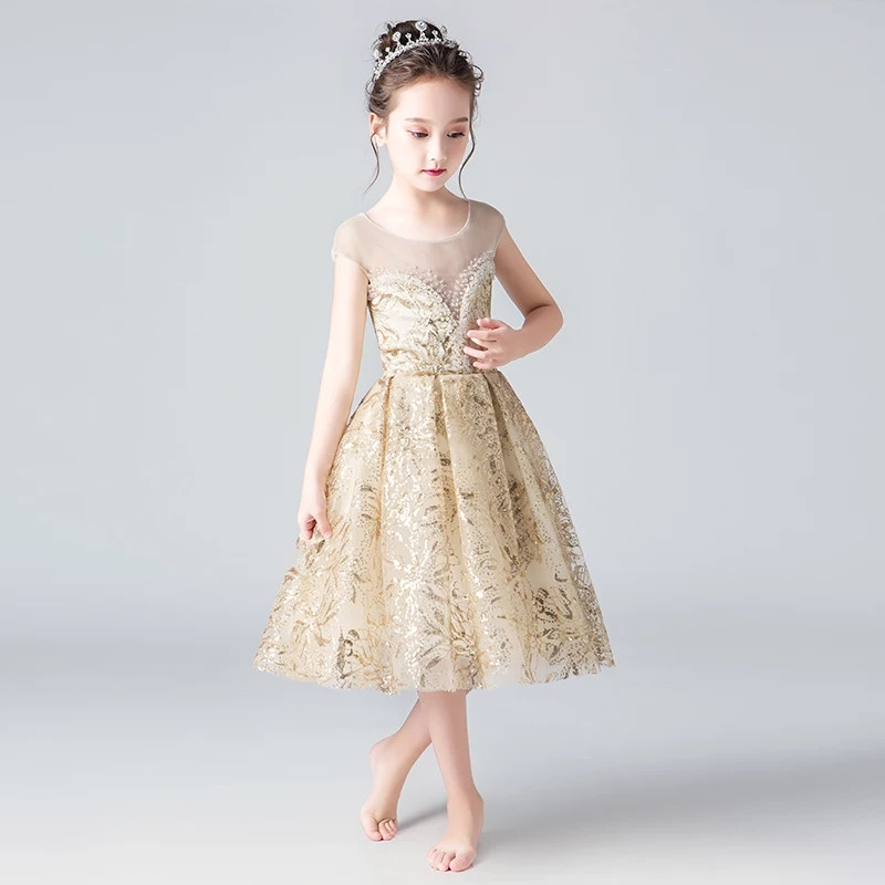 Children s clothing girls birthday wedding party dress summer kids princess gold host costume dresses for