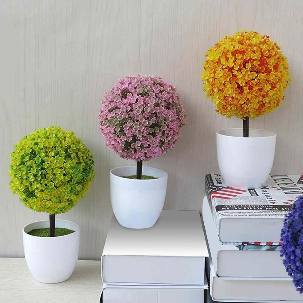 Artificial Plant Potted Bonsai Festival Artificial Potted Ornament Topiary Ball Shape Bonsai Fake Plant Home Decoration Dropship