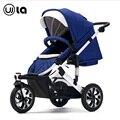 Carrinho de bebê de alta paisagem bolsas 3-rodas Wla carrinho de bebê carro passeio azul escuro cor