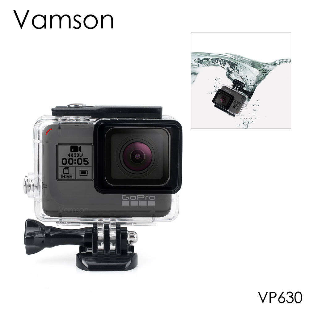 Vamson for Gopro Hero 7 6 5 Accessories Waterproof Protection Housing Case Diving 45M Protective For Gopro Hero 6 5 Camera VP630 lanbeika for gopro hero 6 5 touchbackdoor diving waterproof housing case 45m for gopro hero 6 5 go pro5 gopro6 gopro hero6