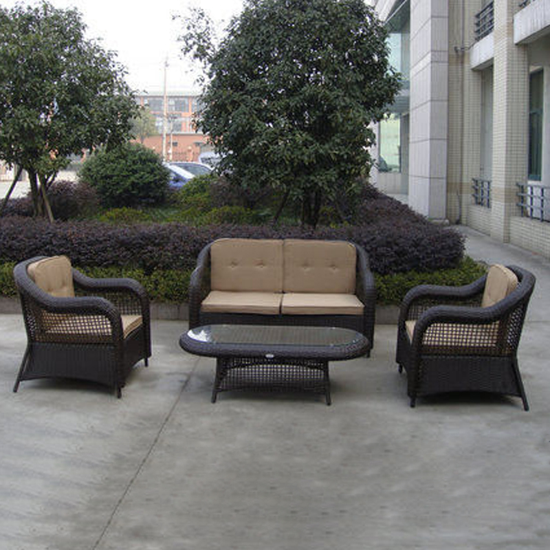 4-pcs PE Wicker Patio Poly Cane Pool Furntiure Pastoralism Home Indoor / Outdoor Rattan Sofa For Living Room