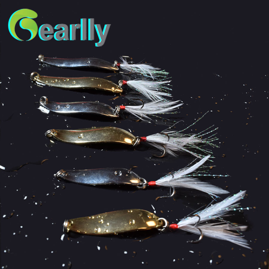 6 pcs/set Fishing Trout Spoon Metal Lure Bass Fishing Spinner Bait 5g 10g 13g Stainless Hooks With Feather Artificial Bait goture fishing trout spoon metal lure bass fishing spinner bait 7g 10g stainless mustad hooks with feather artificial bait
