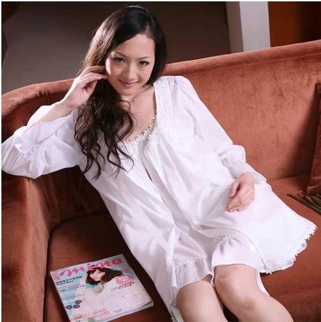 Весна и лето, Новое поступление, кружевная женская ночная рубашка из 100% хлопка, рожок, длинный рукав, плюс размер, одежда для сна, плащ, верхня