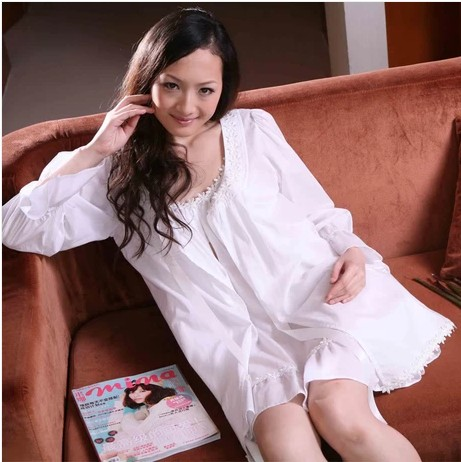 Spring and summer new arrival lace women's 100% cotton nightgown horn long-sleeve plus size sleepwear cloak outerwear lounge