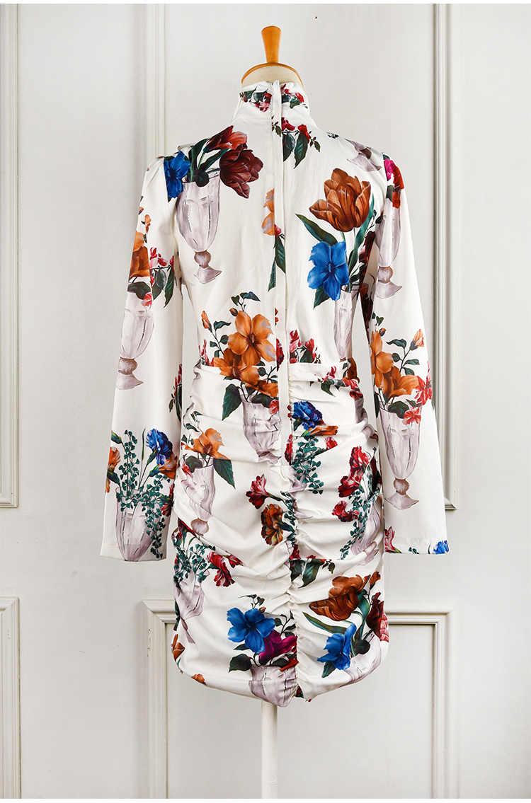 Truevoker дизайнерские европейские весенние Vestidoes женские многоцветные платья с сексуальным цветочным принтом, драпированные Вечерние платья Robe Femme Ete