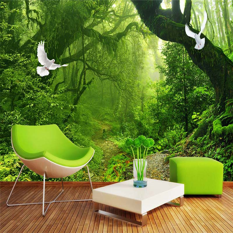 Custom 3D Wallpaper Murals Virgin Forest Green Forest Tree Modern 3D Living Room TV Backdrop Home Wall Mural Non-woven Wallpaper free shipping custom modern large scale murals bedroom children room wallpaper wandering dino s wallpaper 3d wall mural
