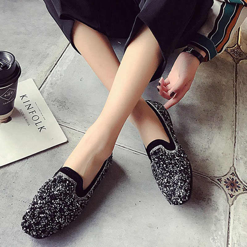 ... Tangnest 2019 New Women Bling Flats Slip On Ladies Glitter Loafers  Spring Comfort Round Toe Casual ... 51770e1fa965
