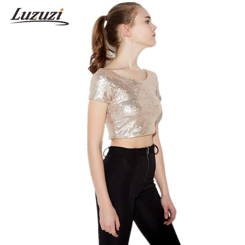 Women Fashion Crop Top Tshirts Fashion Blingbling Sequined T shirt Pullover O neck Summer Short ...