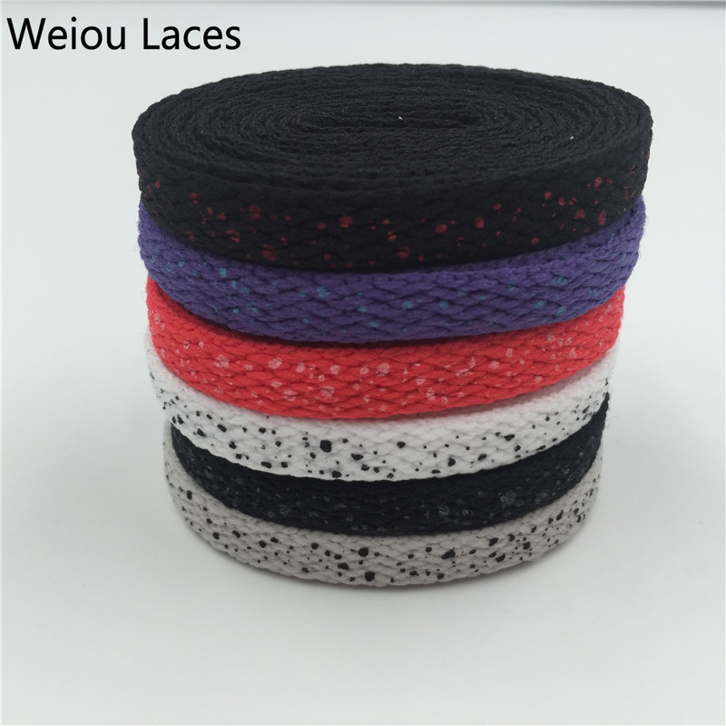 (100 Pairs/Lot) Weiou Sports Shoelaces Splatter Flat Shoe Laces Custom White Shoelace Replacement Boot Laces Speckled Wholesales new woman pink flat shoelaces trainer sport boot shoe laces 2 pairs