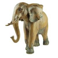Elephant Faux Wood Decorative Figurine Art Sculpture Figurine Animal Statues Resin Crafts Home Decoration Accessories R527