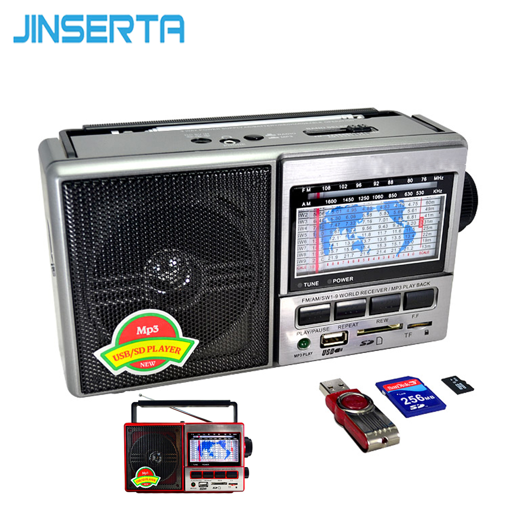 JINSERTA FM/AM/SW World Band Radio Receiver MP3 Player with Band Display Screen Support U Disk/SD Card/TF Card Play