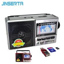 Jinserta fm/am/sw mundo banda receptor de rádio mp3 player com tela de exibição banda suporte u disco/cartão sd/tf cartão jogar