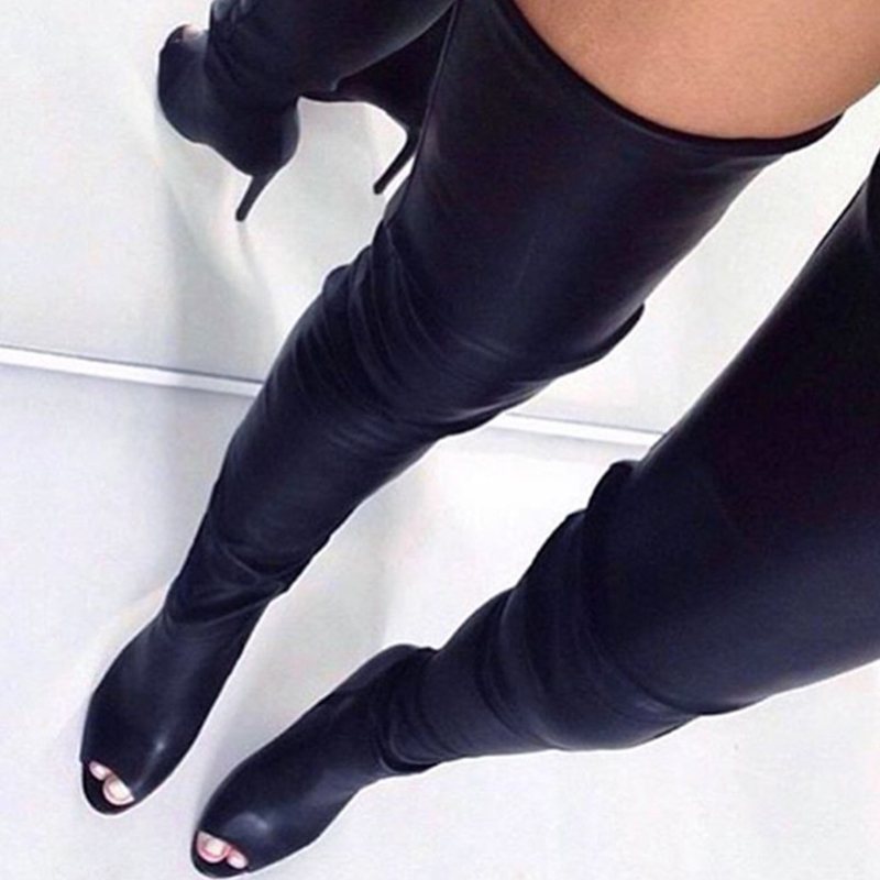 Black Cow Leather Women Over Knee Sexy Boots Peep Toe Platform Shoes Woman Thigh High Zipper Boot Handmade Dropshipping-In Over-The-Knee Boots -9268