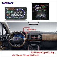 Liandlee Car HUD Head Up Display For Citroen C6 Late 2016-2018 Digital Speedometer Fuel Consumption Projector Screen Detector