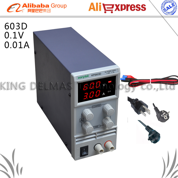 603D Adjustable High precision double LED display switch DC Power Supply protection function 0-60V/0-3A 110V-230V 0.1V/0.01A EU switch power kps3010d adjustable high precision double led display switch dc power supply protection function 30v10a 110v 230v