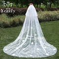 Elegant White Ivory 2T Flowers Long Bridal Veils Real Cathedral Wedding Veil With Comb Voile Mariage Veil For Bride WB24