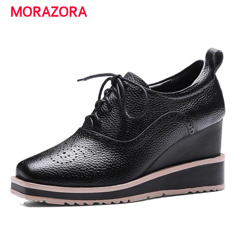 MORAZORA 2017 Genuine leather women high heel platform shoes big size 34-42 wedges brogue shoes lace-up solid square toe single qmn women crystal embellished natural suede brogue shoes women square toe platform oxfords shoes woman genuine leather flats