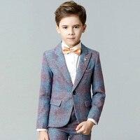 Высокое качество детских Пиджаки для женщин Костюмы покупкой От 4 до 14 лет мальчик Комплекты одежды пальто + брюки + Вязаные Жилеты для женщи