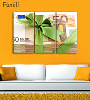 3pcs Banknotes Artwork Canvas Painting Wall Art Canvas Paintings For Living Room Wall Cuadros Canvas Prints Photo No Framed
