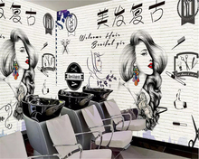 beibehang Custom fashion silky 3d wallpaper HD modern hand-painted beauty barber shop tooling papel de parede wall paper