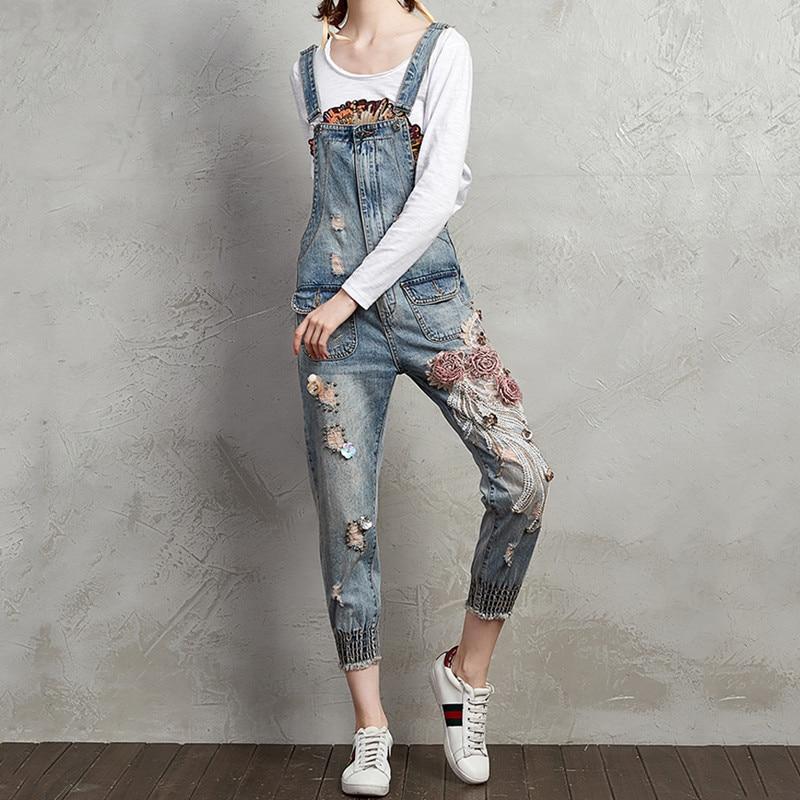 Jeans Jumpsuit Women Ripped Denim Pattern Romper Ladies Denim Loose Jean Overalls Fashion Casual Sleeveless Jumpsuit