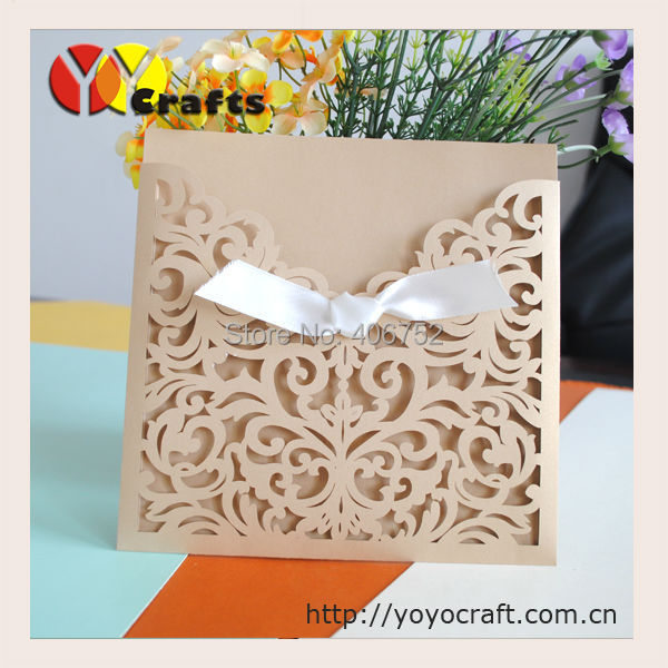 Folded Filigree Wedding Invitation Cards Greeting Cards Laser Cut