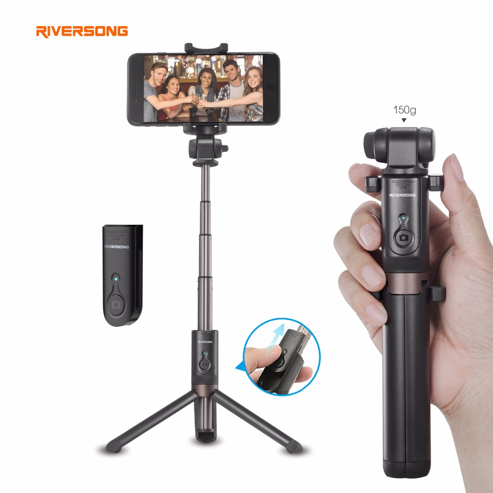 Riversong 7.8 Inch Portable handheld Mini phone Tripod Bluetooth Remote Selfie Stick for Iphone/Samsung/Huawei/Xiaomi/One Plus