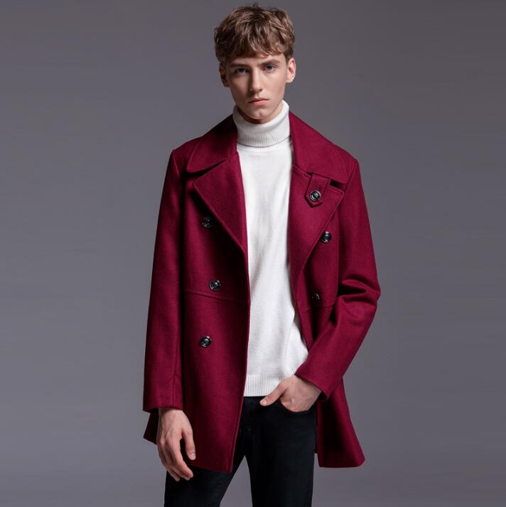 Red Wine Casual Woolen Coat Men Trench Coats Overcoat Mens Cashmere Coat Casaco Masculino Inverno Erkek England Autumn Winter