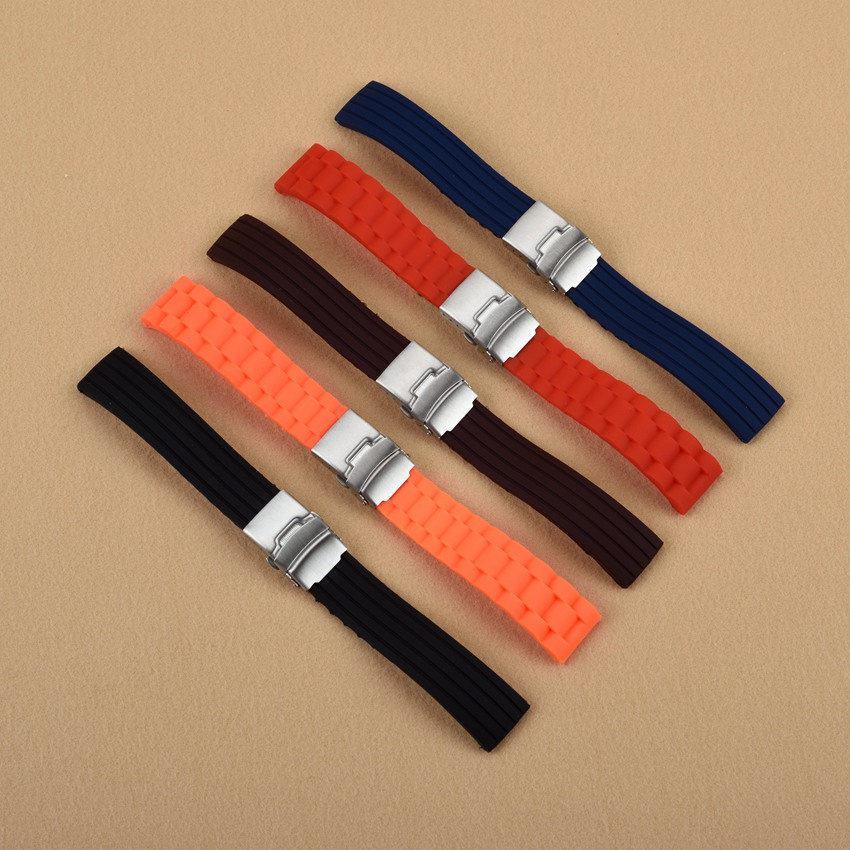 16 18 20 22 24mm Men Black Orange Brown Red Blue Strap Silicone Rubber Waterproof Watch Band Double Push Stainless Steel Clasp келтикан комплекс 205 мг n40 капс