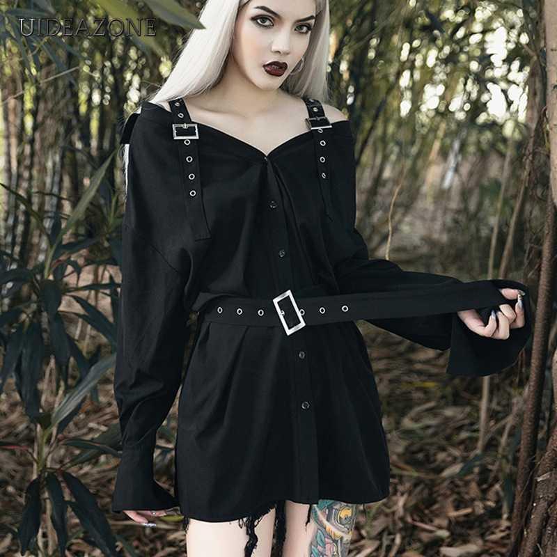 UIDEAZONE Gothic Slash คอหญิงชุดแขนยาวที่ไม่มีสายหนังด้านบนเข่าชุดเซ็กซี่หลวมเสื้อชุด