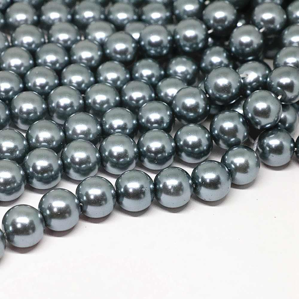 Dark gray 4-14mm round shell simulated-pearl loose spacers accessories beads diy necklace bracelet jewelry making 15inch B1618