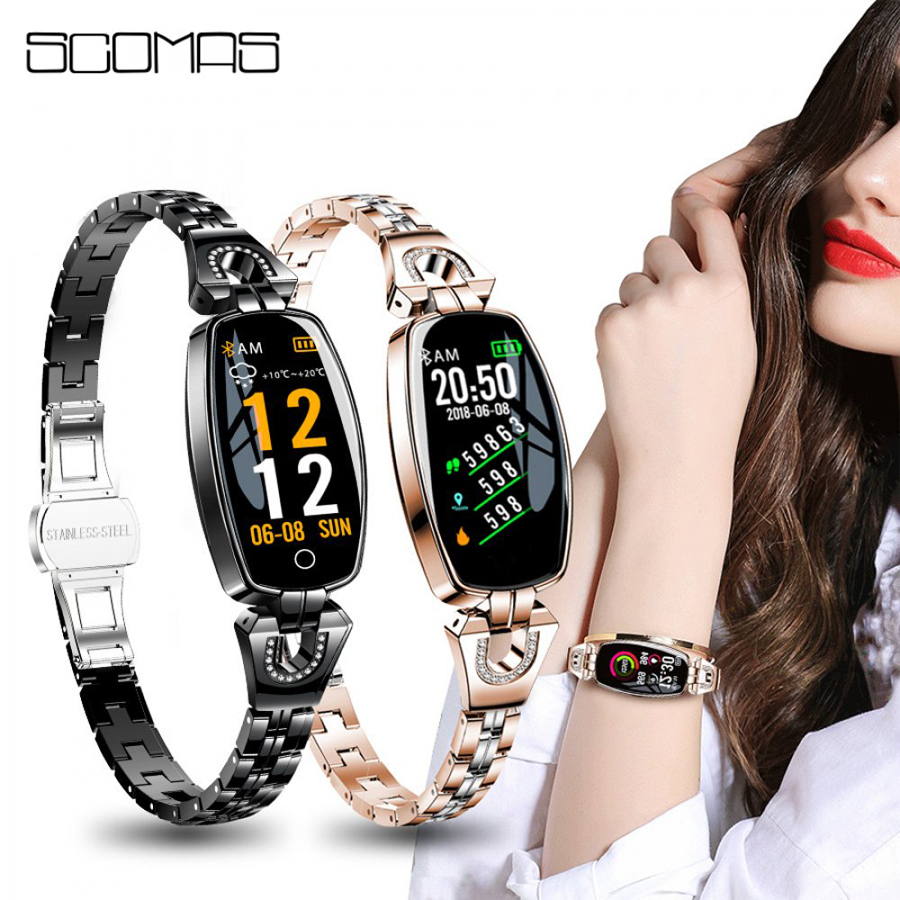 SCOMAS Fashion Women Smart Band 0 96 OLED Wristband Blood Pressure Heart Rate Monitor Fitness Tracker
