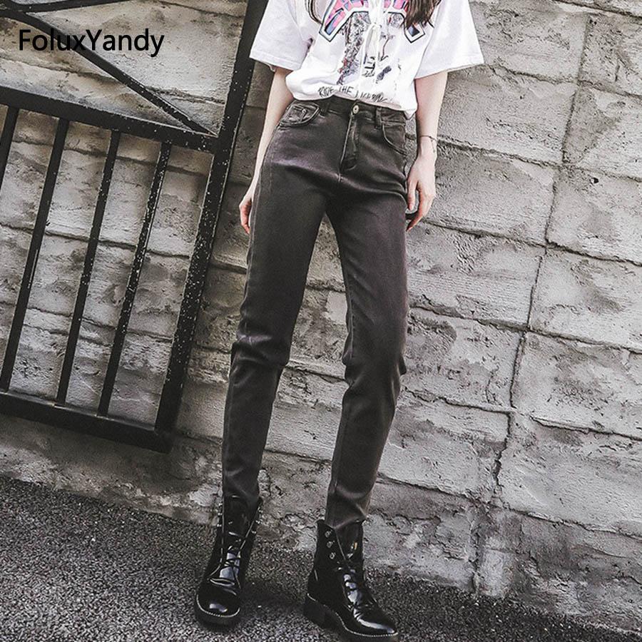 Casual Regular   Jeans   Women Pencil Pants High Waist Denim   Jeans   Trousers Gray Black MYNN61