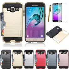 PC+Aluminum Anti-shock Brush Amor Card Holder Case Cover For Samsung Galaxy J3 2016/Express Prime/Amp Prime/Sol  Films+Stylus
