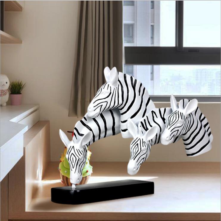 Современный творческий Скульптуры Коня диких животных Аннотация статуя смолы художественных промыслов головы зебры фигурка украшение дом