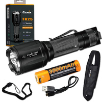 Fenix TK25 UV 1000 Lumens white/3000mW ultra violet (UV) Dual Beam LED Flashlight (TK25UV) with ARB L18 3500U Battery,USB Cable