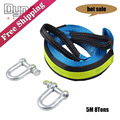 Free Shipping Tow Rope 5M 8Tons Heavy Duty Auto Emergency Helper U-Shape Hooks High Strength Car Trailer Towing Straps