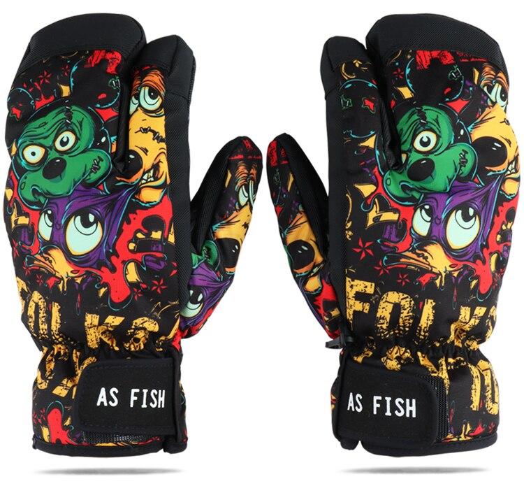Professional Snowboard Ski Gloves Men Women 3 Finger Mittens Winter -30 Skiing Snowmobile Windstopper Snow Handschoemen Monster