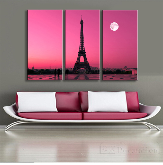 Eiffel tower paris 3 piece canvas wall art multi panel oil painting ...
