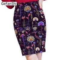 S 5XL Spring Summer Pencil Skirt 2017 Print High Waist Skirt Back Split Bodycon Short Skirts