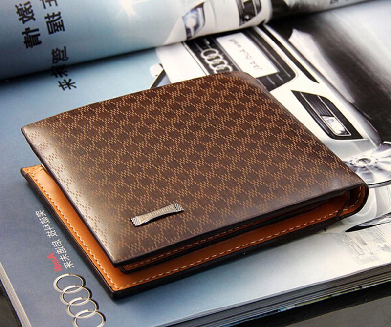 Men Wallet Genuine Leather Plaid Wallet Male