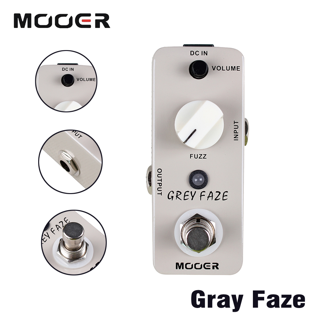 Mooer Full Metal Shell True Bypass Grey Faze Fuzz A Smooth Vintage Sound Guitar Effects Pedal mooer grey faze fuzz guitar effect pedal electric guitar effects true bypass with free connector and footswitch topper