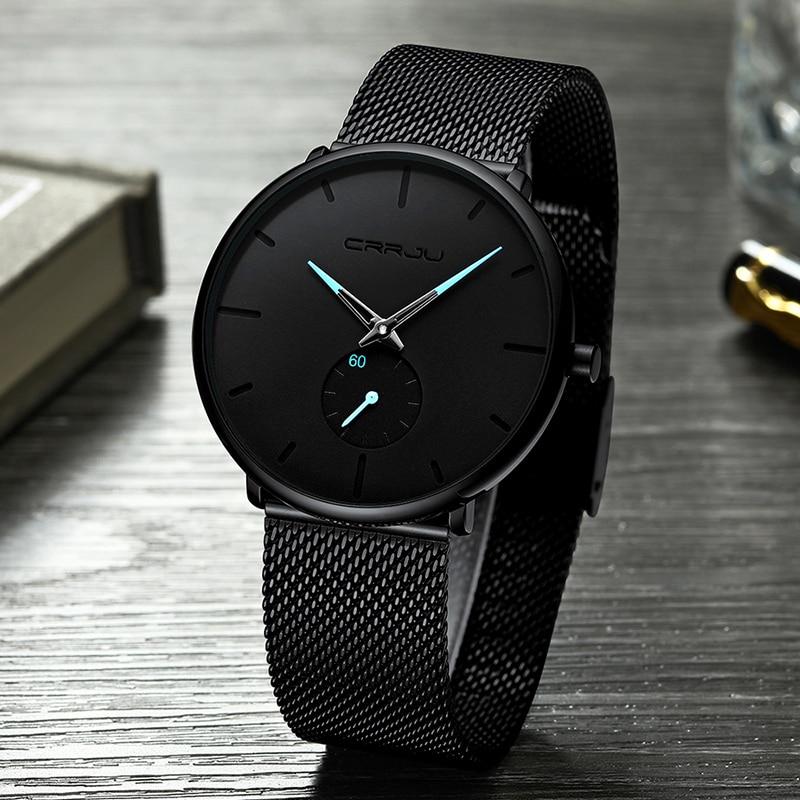 Hommes Montres Top Marque De Luxe CRRJU Mode Casual Quartz Analogique Montre Hommes de Sport Imperméables Entreprise Montre-Bracelet Homme Horloge